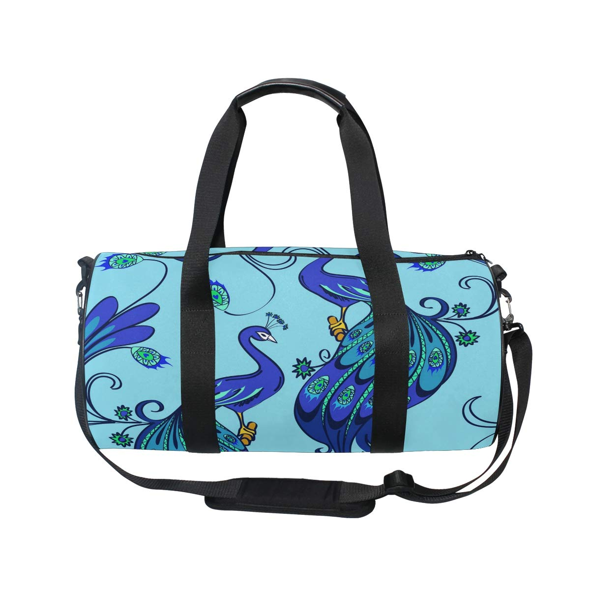 WIHVE Gym Duffel Bag Blue Magic Peacocks Sports Lightweight Canvas Travel Luggage Bag