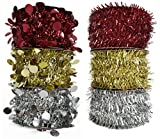 Set of 6 Tinsel Garlands! 25ft Long - 3 Different Colors - 2 Different Themes - Perfect for Christmas Tree Decorations!