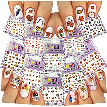Amazon Nail Art 3d Stickers Thanksgiving Collection 10 Pack