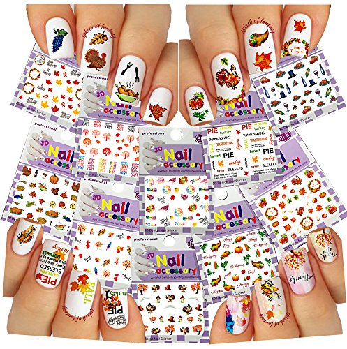 Nail Art 3D Stickers ♥ Thanksgiving Collection, 10-Pack /EE-V/