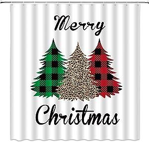 "XZMAN Merry Christmas Shower Curtain Buffalo Plaid Leopard Print Christmas Tree Rustic Farmhouse Winter Festive Red Green Black Creative Bathroom Decor Fabric Set Include Hooks,(70"" WX70 H)"