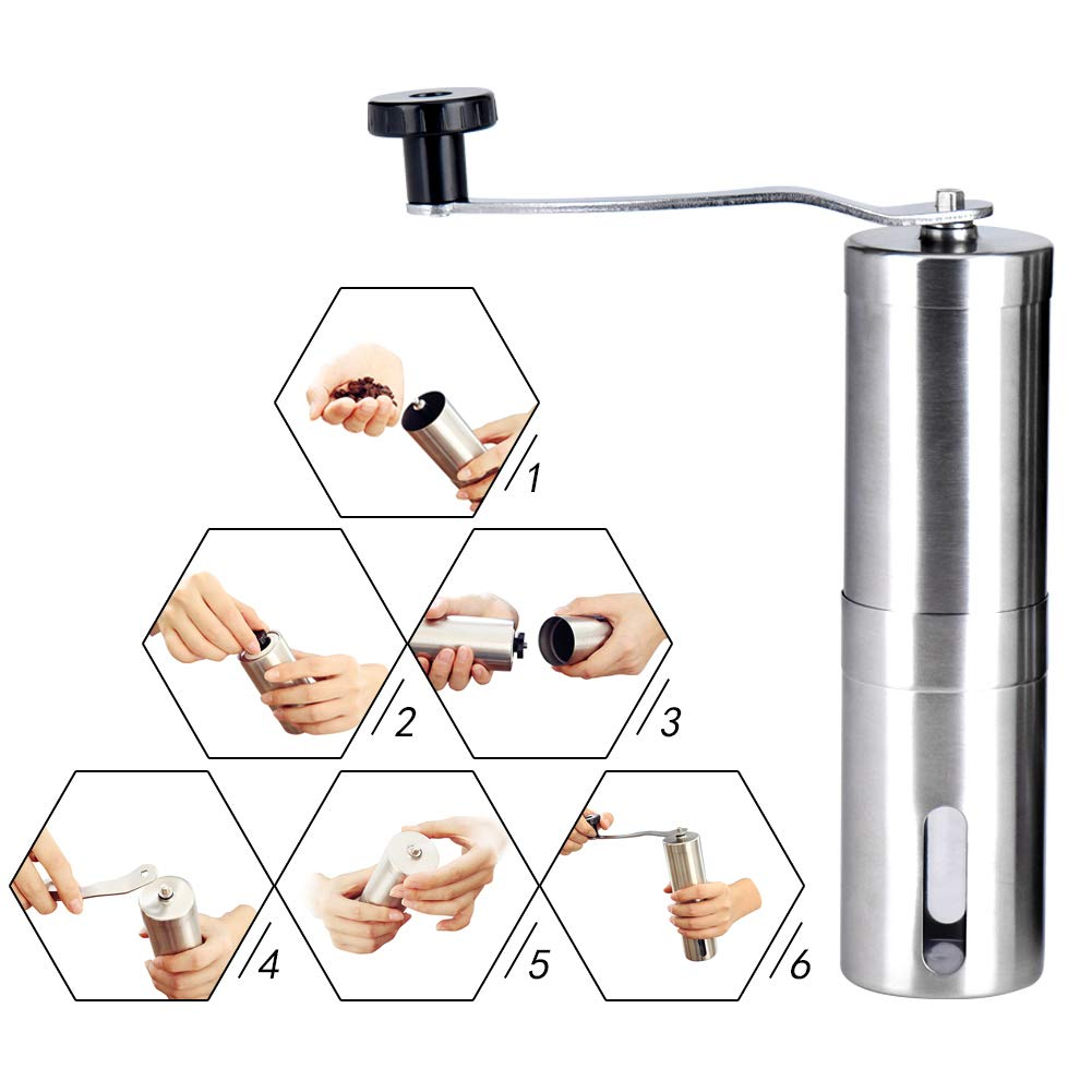 Manual Coffee Grinder Adjustable Ceramic Conical Burr Hand Crank Mill Grinds with Brush Stainless Steel for Home Office Travel
