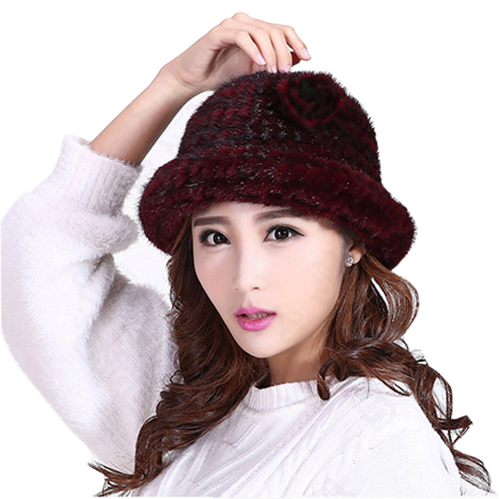 7b105fe7a6076 Lady's Cap Winter Warm Hat Hand Knitted Women Hat Mink Fur Cap Mink ...