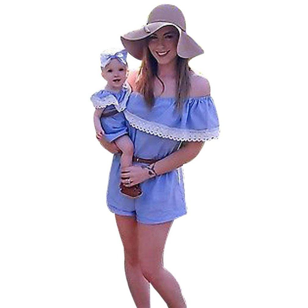 XILALU Summer Family Clothes, Mommy and Me Baby Girl Off Shoulder Lace Jumpsuit Romper Belt Outfits (US 10-12, Mommy: Blue)