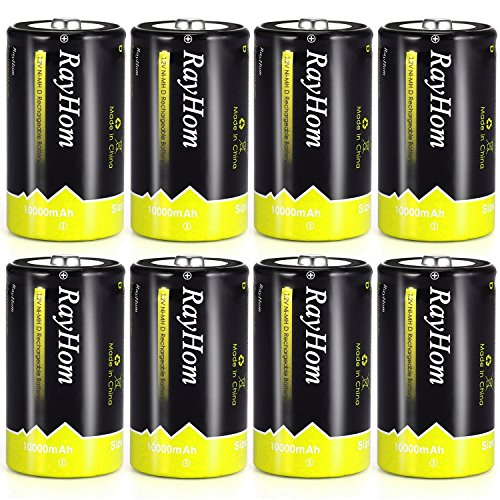- Rechargeable D Batteries 10,000mAh 8Pack - RayHom Rechargeable D Batteries 10,000mAh 1.2V Ni-MH High Capacity High Rate D Cell Size Battery with Box (8 Pack)
