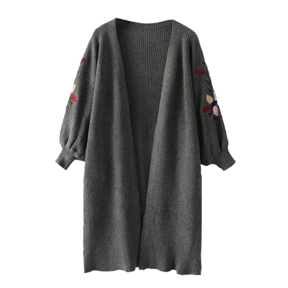 Challyhope Women Lantern Sleeve Oversized Loose Knitted Sweater Cardigan Outwear Coat (Free, Dark Gray)