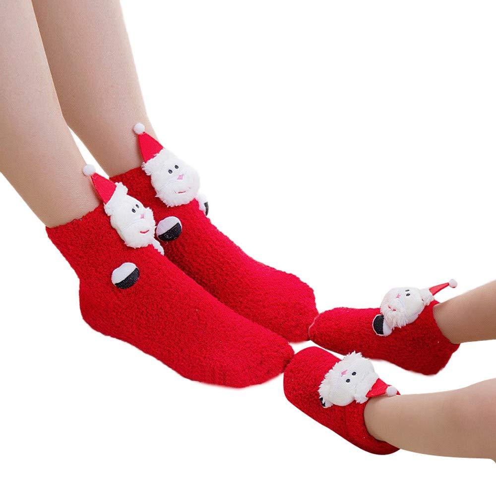 kaiCran Parent-Child Christmas Socks Fun Colorful Crew Xmas Socks for Family Adults Baby