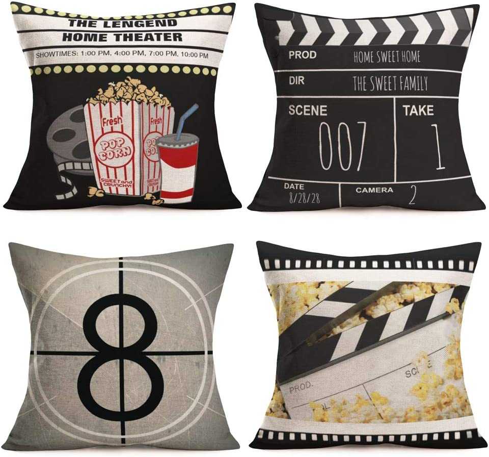 Royalours Pillow Covers Retro Movie Theater Cinema Patterns Cotton Linen Decorative Throw Pillow Covers Pillow Case Cushion Cover Body Pillowcovers 18 x 18 Inches Set of 4 (Cinema Popcorn)