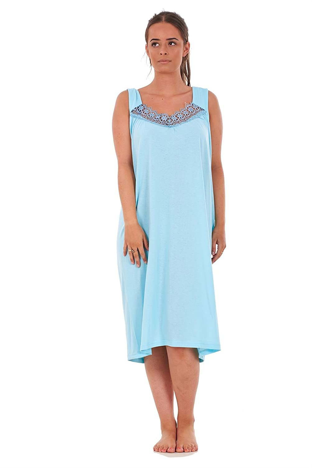 Bay eCom UK Ladies Nightwear V Neck Plain 100% Cotton Sleeveless Long Nightdress M to XXXL Does not Apply