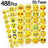 Ivenf 3D Foam Puffy Fun Emoji Face Laptop Luggage Stickers, Teacher Stickers for Prizes, Kids Party Supplies Favors Decoration Games, 12 Sheets 488 pcs