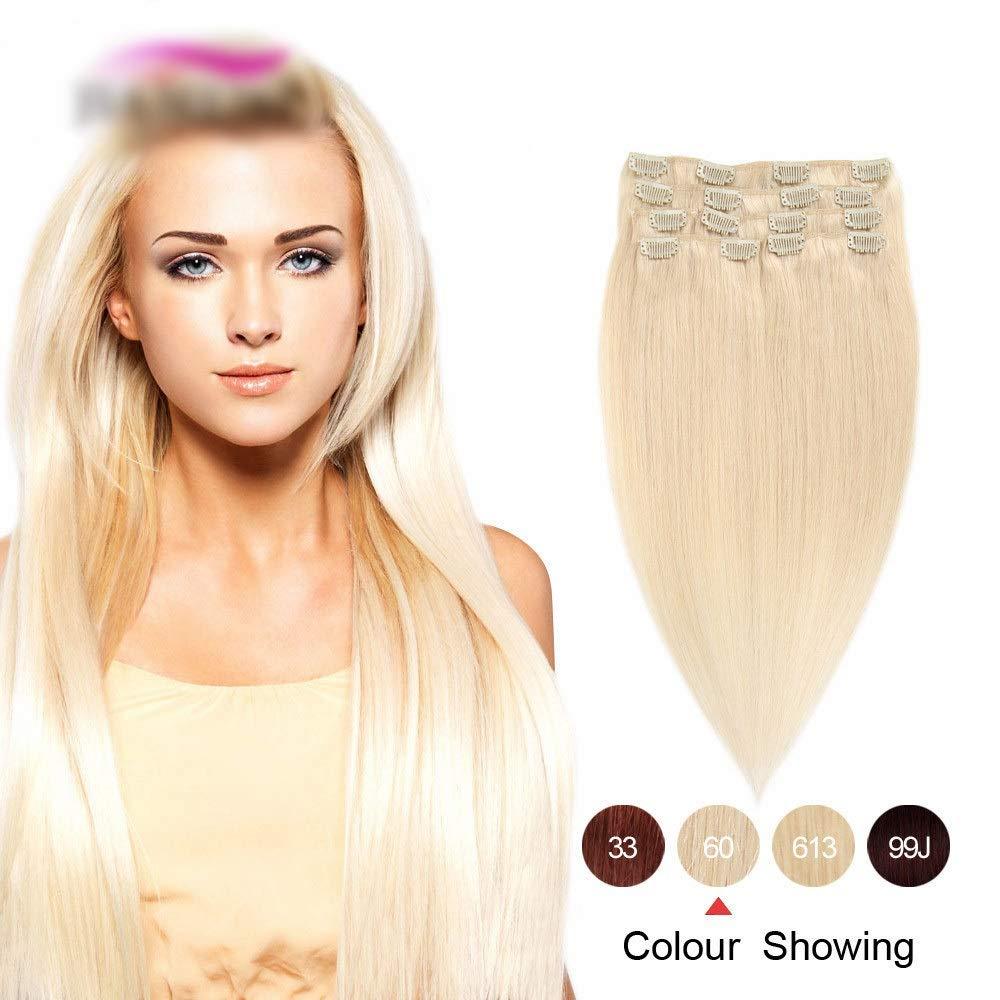 HOHYLLYA 20インチフルヘッドクリップ(ヘアエクステンション#60ライトブロンド100%人毛(20インチ、100g)ロールプレイングウィッグレディースナチュラルウィッグ (色 : #60 light blonde) B07T64SC14 #60 light blonde
