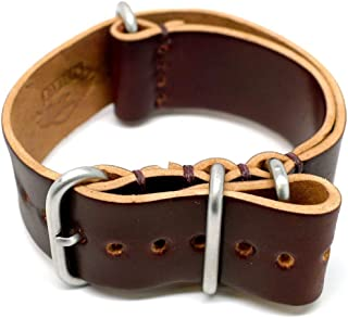 product image for DaLuca Shell Cordovan Military Watch Strap - Color 8 (Matte Buckle) : 24mm