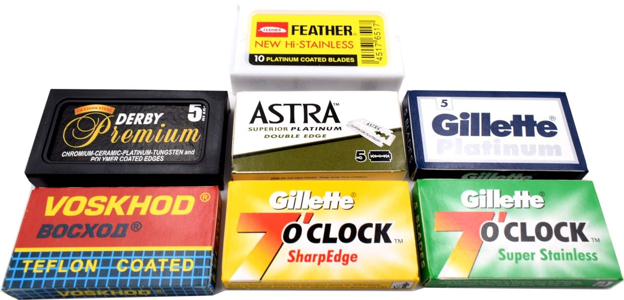 Astra-Derby-Feather-Voskhod 40 Quality Double Edge Razor Blades Sampler (7 different brands)