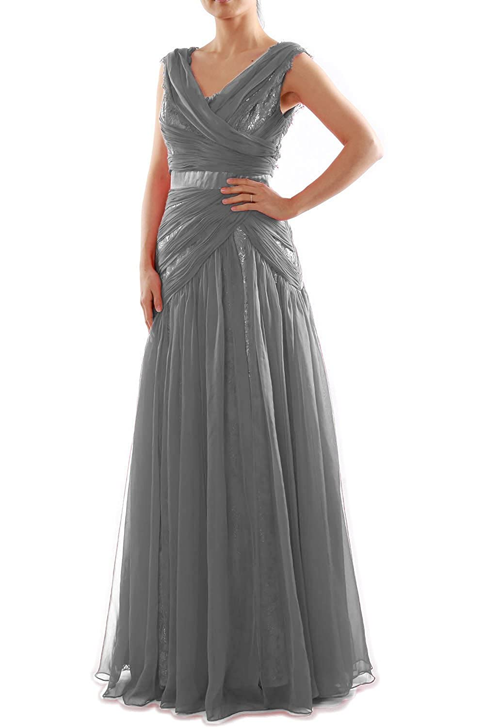 MACloth V Neck Long Ruched Chiffon Lace Formal Evening Dress Prom Party Gown