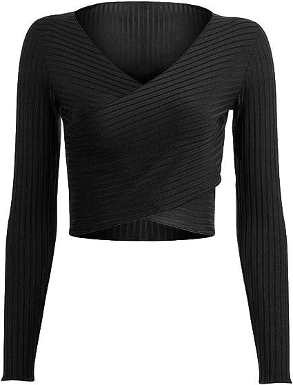 Hajotrawa Women Loose Pullover Long-Sleeve Crop Top Hooded Sweatshirts