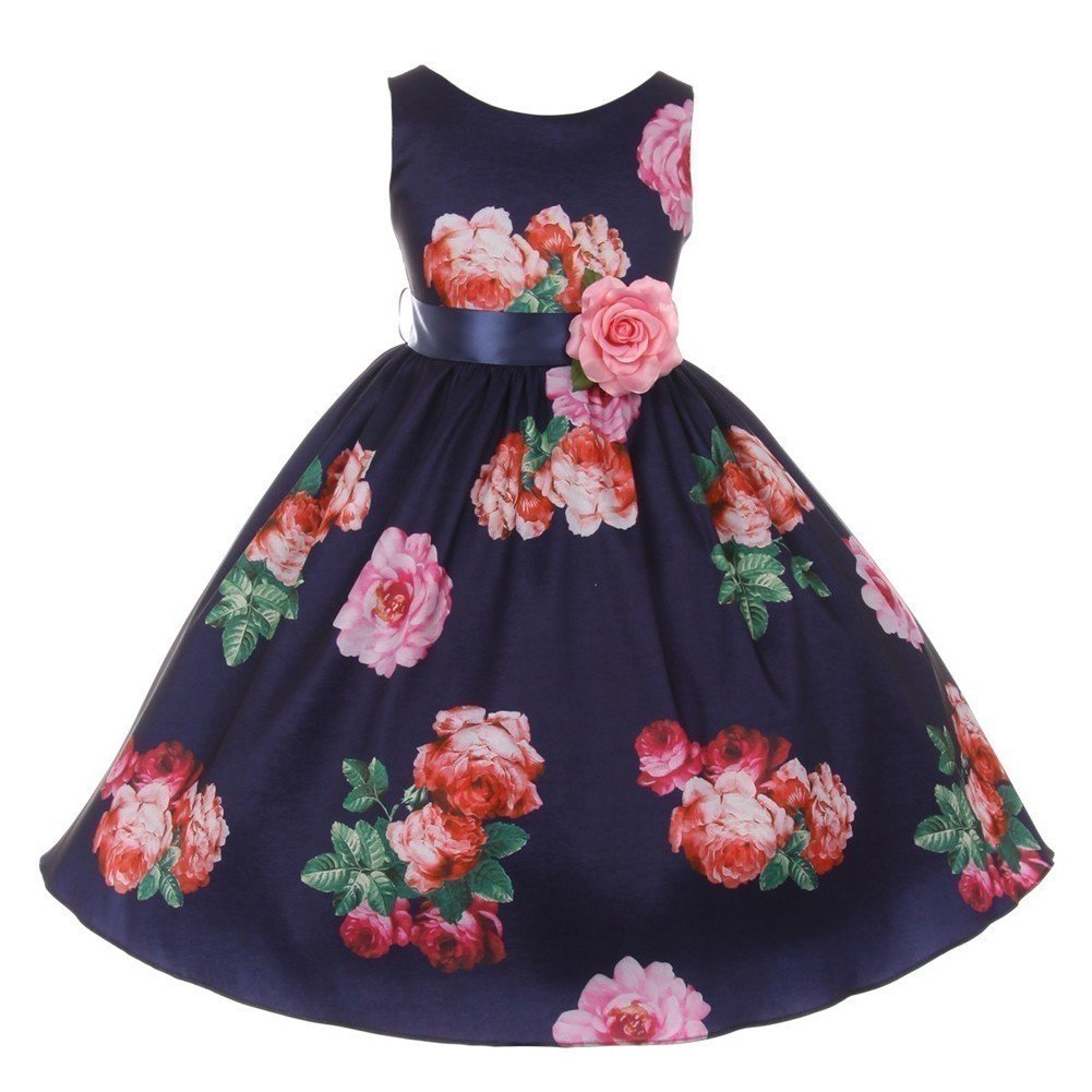 6e37714117c4 Flower Girl Dresses With Navy Ribbon