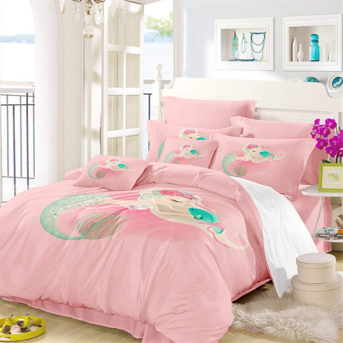 2c45faee5c1724 Amazon.com: Oliven Cartoon Mermaid Bedding Set Full Size Girls Duvet Cover Full  Size Pink 3 Piece Home Decor: Home & Kitchen