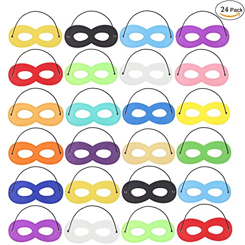 Zapour 24 Pieces Masks Superhero Mask Party Mask Superhero with Elastic Rope for Party , 17 Colors