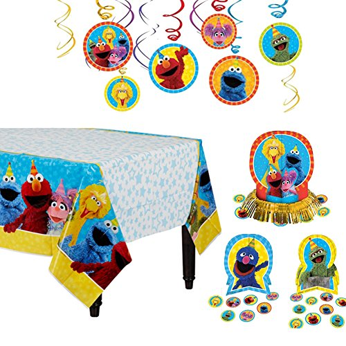 (Sesame Street 1st Birthday Decoration Supply Pack Including Table Cover, Centerpiece, and Swirl)