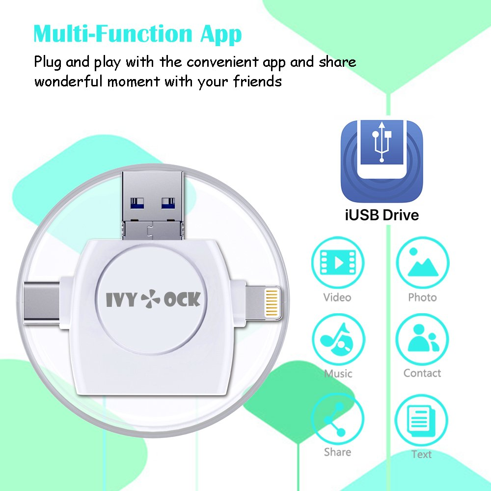 SD & Micro SD Card Reader - Memory Card Camera Reader Adapter for iPhone/iPad/GALAXY S8/Android/Mac/PC/MacBook. With Lightning,Micro USB,USB Type C,USB 3.0 Connector (4 in 1) by IVYOCK (Image #3)