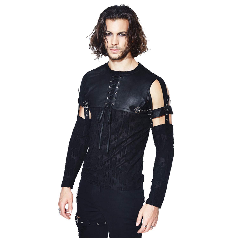 35fec6e2ef Devil Fashion Steampunk Men's Hollow Out Black T-Shirts Detachable Sleeves  O-Neck T-Shirt   Amazon.com