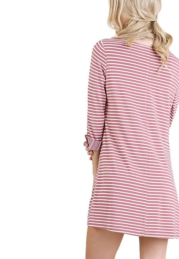 Umgee 3//4 Sleeve Striped A Line Dress