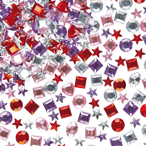 Self-Adhesive Acrylic Jewels Assorted Designs & colors Embellishments for Children's Crafts (Pack of 200)