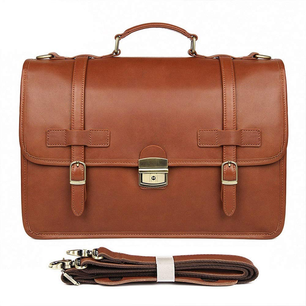 Shengjuanfeng Mens Briefcase Exquisite Briefcase Mens Leather Business Bag Crazy Horse Leather Briefcase Color : Brass, Size : L
