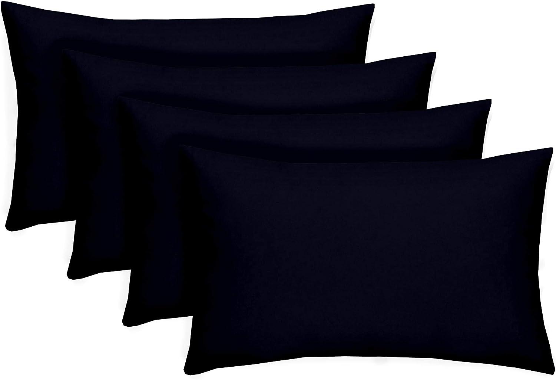 Set Of 4 Indoor Outdoor Decorative Lumbar Rectangle Pillows Solid Navy Garden Outdoor