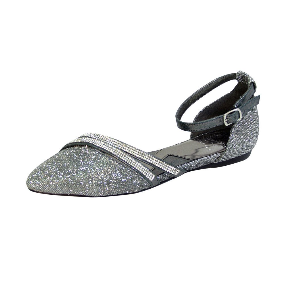 Fuzzy FIC Hallie Women Wide Width Pointed Toe Ankle Strap Dress Flats (Size/Measurement Guide Available) B01LXQEWQL 7.5 E|Pewter