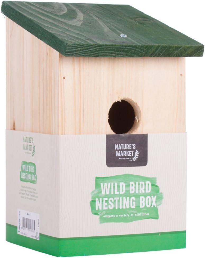Bonnington Plastics Caja de nido de pájaros de madera tradicional: Amazon.es: Jardín