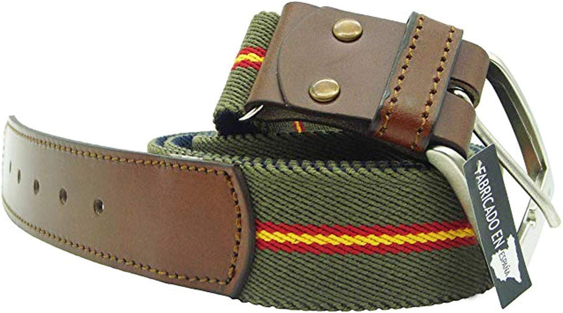 LGP – Cinturón Bandera de España de Lona elástica color Verde y ...