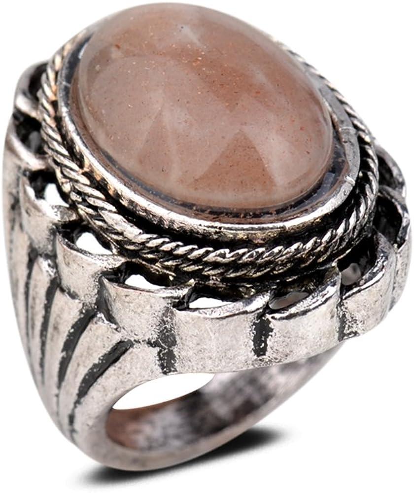 YAZILIND Vintage Antiguo Corte Ovalado marrón Piedra Preciosa Retro Plata Plateado Anillo Mujeres