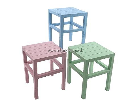 In legno pastello pained sgabelli in legno per bambini rosa blu