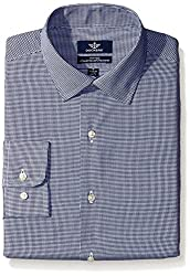 Dockers Men's Navy Gingham Check Fitted Shirt - Spread Collar, Charcoal, 15.5x34/35