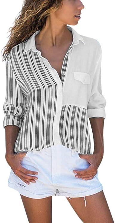 Camisas Mujer, Manga Larga Estampada Blusas con Cuello En V Moda Camisa A Rayas Delgadas CóModo Y Transpirable CáRdigan con Bolsillo Camisetas De Manga Larga para Mujer: Amazon.es: Ropa y accesorios