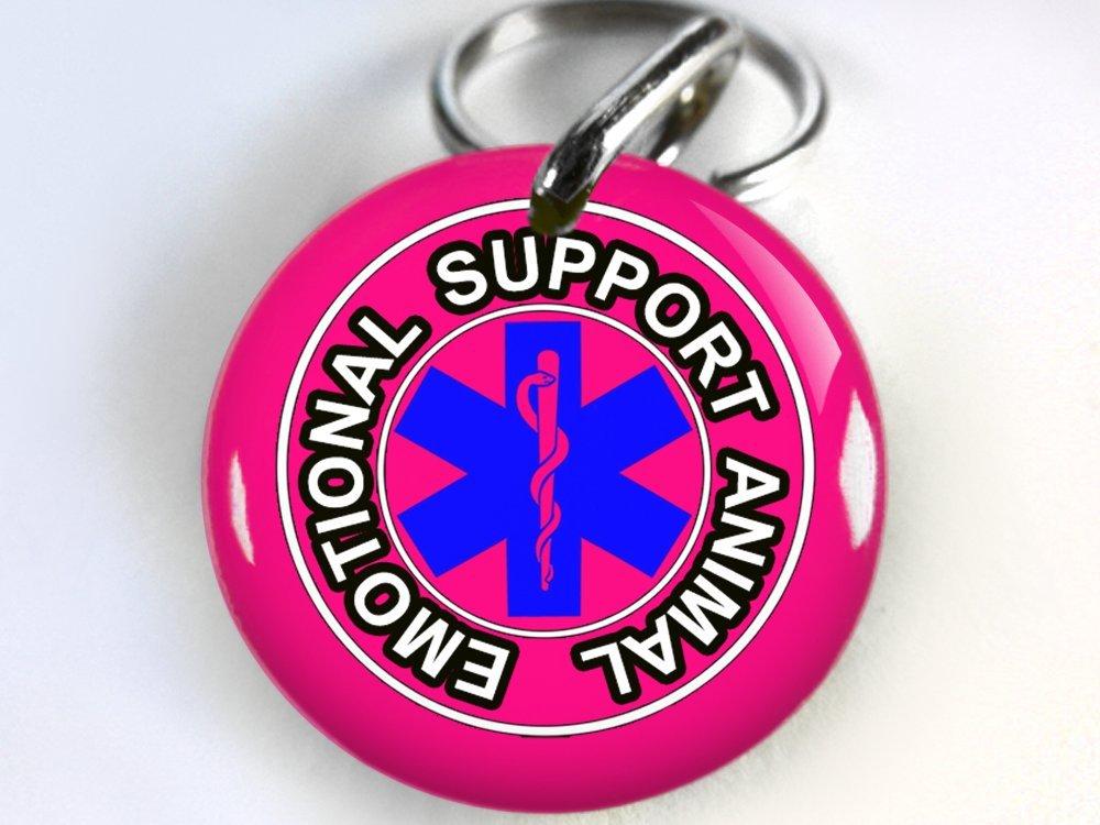 Service Dog Customized pet tag Hot Pink ESA emotional support service animal Medical Symbol (Regular 1'')