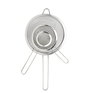CHICHIC Set of 3 Stainless Steel Kitchen Fine mesh Strainers Tea Fine Y Mesh Strainers Juice Egg Filter 3 Sieve Colander Sets Wire Filter Mesh for Tea Coffee Food Rice Vegetable with Handle