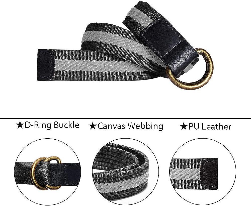 ITIEZY Mens Canvas Belt Cloth Belt Double D Ring Buckle Belt for Men Casual Sports Webbing Belt