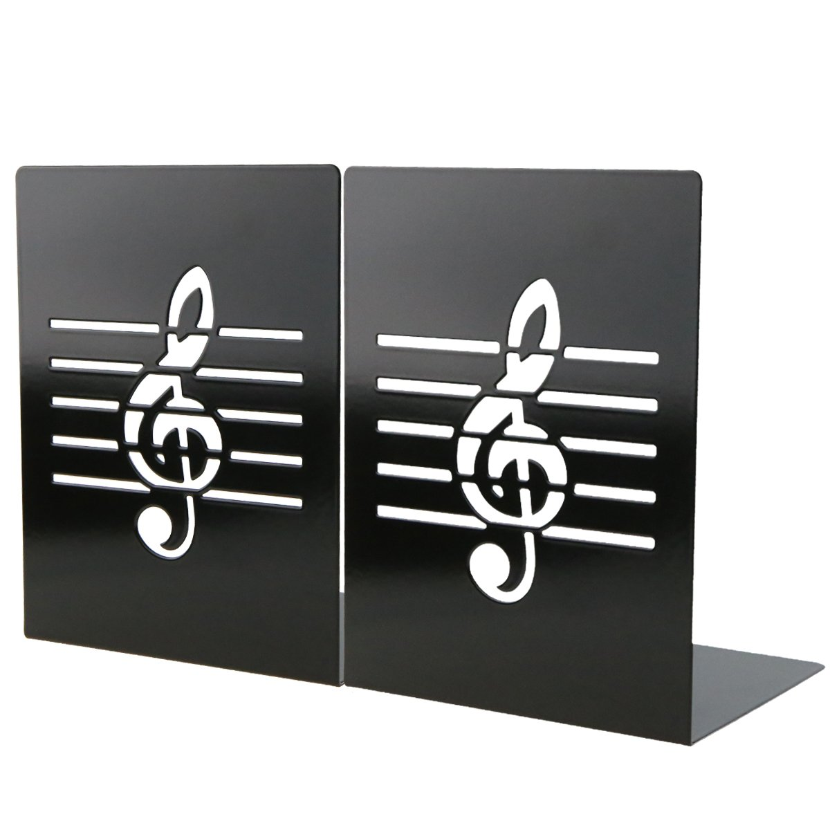 Unique Music Notes Book Stands Metal Bookends For Kids School Library Desk Study Home Office Decoration Gift(Black) by Apol (Image #1)