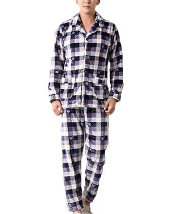 ZJEXJJ Pijama de terciopelo de coral de los hombres grueso traje de franela de manga (