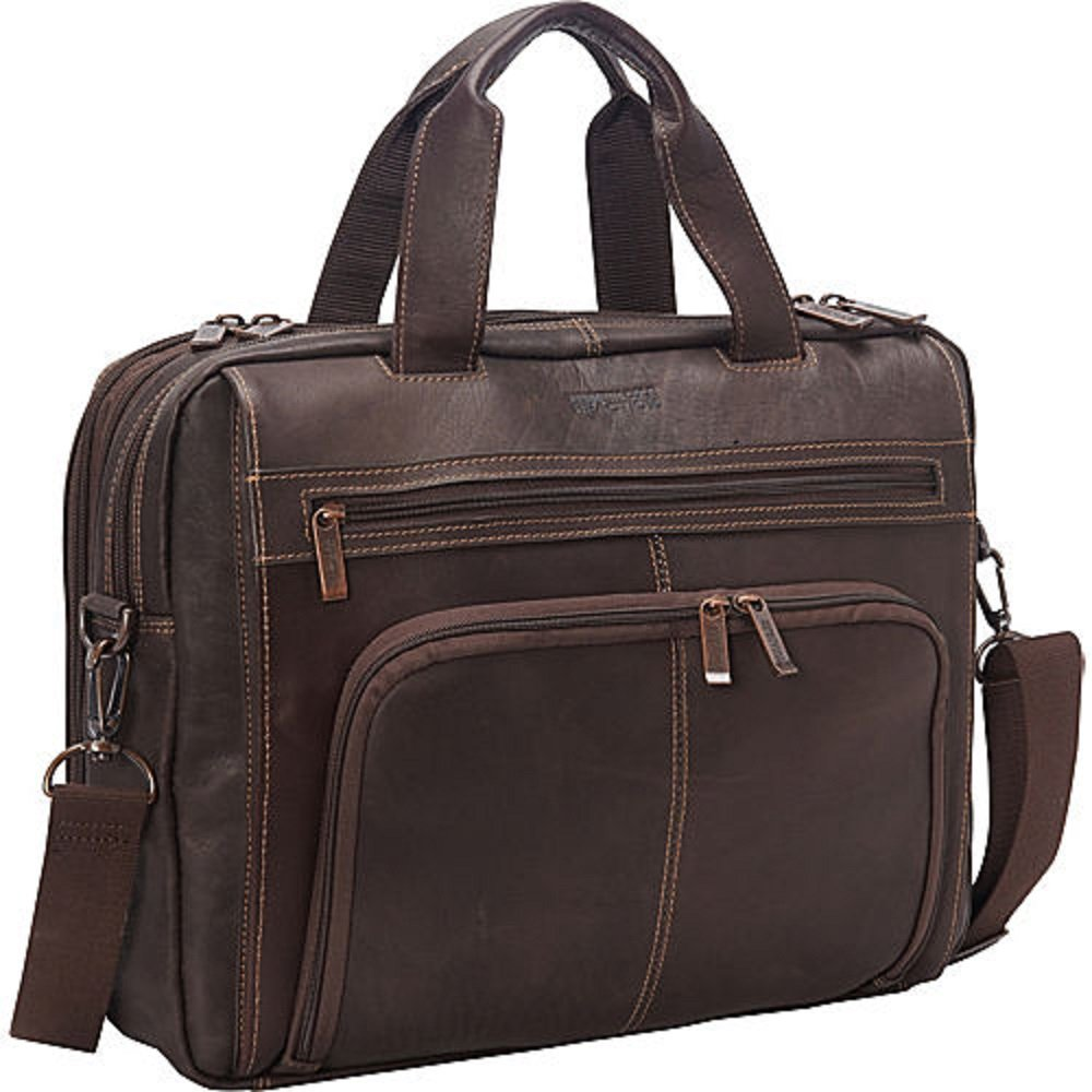 Kenneth Cole Reaction Columbian Leather Expandable Briefcase Brown