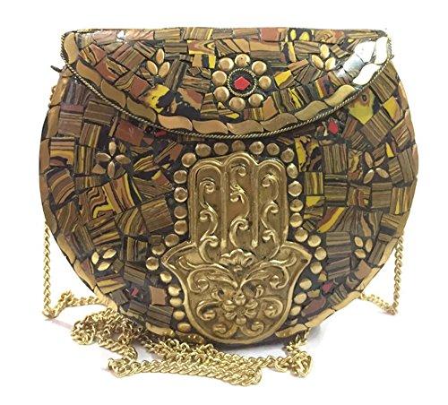 Clutch Tiger (Ethnic Gift for women girls Metal Bags Mosaic Ethnic Clutch Handbags for women on sale metal bag ethnic tribal Wallet vintage purse boho indian clutch (Tiger))