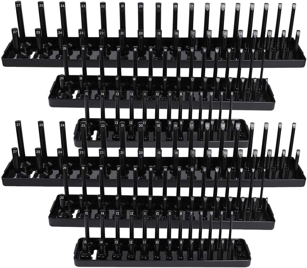 OTOEZ 6Pcs Socket Organizer Tray Set Rack Storage Holder Tool Metric SAE 1//4 3//8 1//2