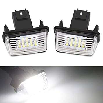 VIGORFLYRUN PARTS LTD 2pcs LED Luz de Matrícula Bombilla Licencia Número Placa Lámparas de Luz para P-eugeot 206 ...