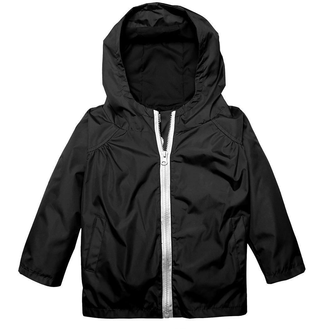 girl long sleeve casual coat hiding zip up Watertight with Hat Hood Travel black