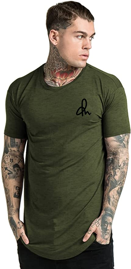 Collateral Attire Hombres Chest Logo Longline Curved Hem T-Shirt Muscle King Gym Fit SIK Sinners KWD