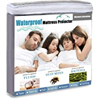 Waterproof Mattress Protector Premium Waterproof Mattress Encasement - Comfortable Breathable Hypoallergenic, Protects Against Dust Mites and Allergens (Grey, Twin XL)