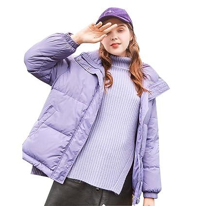Abrigos Chaqueta de Abajo Chaqueta de Color púrpura Claro Chaquetas de Invierno cálidas y cómodas Corto