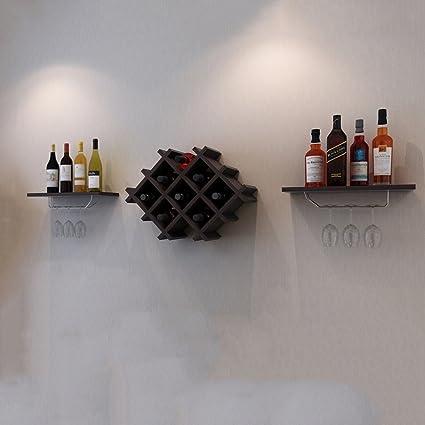 SKC Lighting-Estantería de vino Bastidores de vino de madera sólida Pared minimalista moderna Bodega